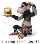 Clipart Of A 3d Thinking Chimp Holding A Cheeseburger 2 Royalty Free CGI Illustration