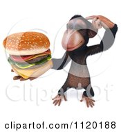 Clipart Of A 3d Thinking Chimp Holding A Cheeseburger 3 Royalty Free CGI Illustration