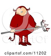 Fat Man In A Red Devil Costume Carrying A Pitchfork