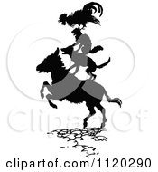 Clipart Of A Silhouetted Rooster Cat And Dog On A Donkey Royalty Free Vector Illustration by Prawny Vintage