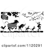 Clipart Of Silhouetted Animals Following A Man Royalty Free Vector Illustration by Prawny Vintage