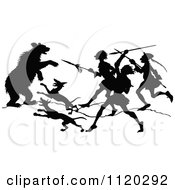 Clipart Of A Silhouetted Bear Attacking Dogs And People Royalty Free Vector Illustration
