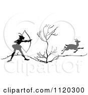 Clipart Of A Silhouetted Archer Deer Hunter Aiming Royalty Free Vector Illustration