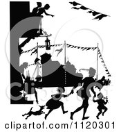 Clipart Of Silhouetted People At A SStreet Carnival Royalty Free Vector Illustration by Prawny Vintage