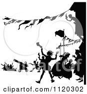 Clipart Of Silhouetted People Shooting Cannons And Celebrating In A Street Royalty Free Vector Illustration by Prawny Vintage
