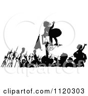 Clipart Of A Silhouetted Girl On A Lamp Post As People Celebrate In The Street Royalty Free Vector Illustration by Prawny Vintage