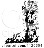 Clipart Of Silhouetted Children In A Tree Above People Celebrate In The Street Royalty Free Vector Illustration by Prawny Vintage