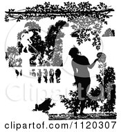 Clipart Of Silhouetted Water Garden Fountains Royalty Free Vector Illustration by Prawny Vintage