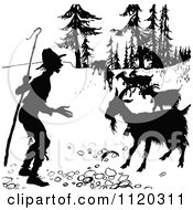 Clipart Of A Silhouetted Shepherd And Goats Royalty Free Vector Illustration by Prawny Vintage