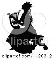 Clipart Of A Silhouetted Princess Playing A Harp Royalty Free Vector Illustration by Prawny Vintage