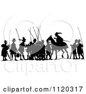 Clipart Of A Silhouetted Hunting Party Royalty Free Vector Illustration by Prawny Vintage