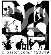 Clipart Of A Silhouetted Castle With People Inside 2 Royalty Free Vector Illustration by Prawny Vintage