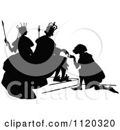 Clipart Of A Silhouetted Man Kneeling To The King And Queen Royalty Free Vector Illustration by Prawny Vintage