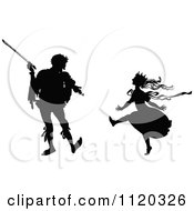 Clipart Of A Silhouetted Violinist And Dancing Princess Royalty Free Vector Illustration by Prawny Vintage