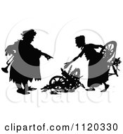 Clipart Of A Silhouetted Couple Gathering Scrap Royalty Free Vector Illustration