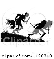 Clipart Of Silhouetted Hunters With A Bird Royalty Free Vector Illustration by Prawny Vintage