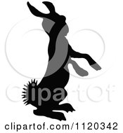 Clipart Of A Silhouetted Alert Bunny Royalty Free Vector Illustration