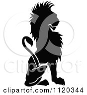 Clipart Of A Silhouetted Sitting Lion Royalty Free Vector Illustration by Prawny Vintage