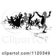 Clipart Of A Silhouetted Crowd Running Royalty Free Vector Illustration by Prawny Vintage