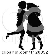 Clipart Of A Silhouetted Boy And Girl Dancing Royalty Free Vector Illustration