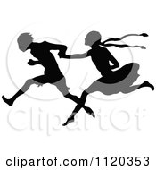 Clipart Of A Silhouetted Couple Running And Holding Hands Royalty Free Vector Illustration