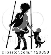 Clipart Of A Black And White Girl With Stilts And A Cat Royalty Free Vector Illustration