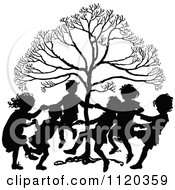 Clipart Of Silhouetted Children Dancing Around A Tree Royalty Free Vector Illustration by Prawny Vintage