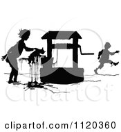 Clipart Of A Silhouetted Kid Saving A Cat From A Well Royalty Free Vector Illustration