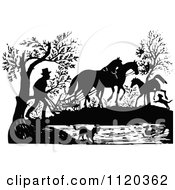 Clipart Of A Retro Vintage Black And White Farmer Using A Horse Plouw Royalty Free Vector Illustration by Prawny Vintage
