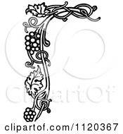 Clipart Of A Retro Vintage Black And White Grape Vine Floral Page Border Royalty Free Vector Illustration