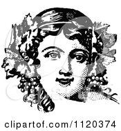 Clipart Of A Retro Vintage Black And White Woman With Grapes And Leaves In Her Hair Royalty Free Vector Illustration by Prawny Vintage