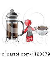 Cartoon Of A Red Man Barista Holding A Cup Of Coffee By A French Press Royalty Free Vector Clipart by Leo Blanchette
