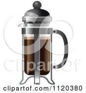 Cartoon Of A French Press Coffee Maker Royalty Free Vector Clipart