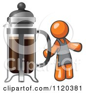Cartoon Of An Orange Man Barista By A Coffee French Press Royalty Free Vector Clipart
