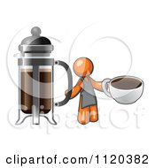 Cartoon Of An Orange Man Barista Holding A Cup Of Coffee By A French Press Royalty Free Vector Clipart