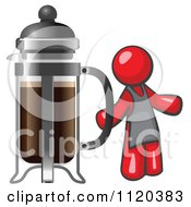 Cartoon Of A Red Man Barista By A Coffee French Press Royalty Free Vector Clipart by Leo Blanchette