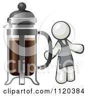 Cartoon Of A White Man Barista By A Coffee French Press Royalty Free Vector Clipart by Leo Blanchette