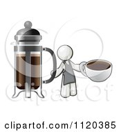 White Man Barista Holding A Cup Of Coffee By A French Press