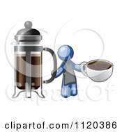 Cartoon Of A Blue Man Barista Holding A Cup Of Coffee By A French Press Royalty Free Vector Clipart