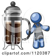 Cartoon Of A Blue Man Barista By A Coffee French Press Royalty Free Vector Clipart