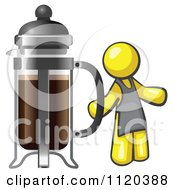 Cartoon Of A Yellow Man Barista By A Coffee French Press Royalty Free Vector Clipart