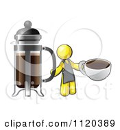 Cartoon Of A Yellow Man Barista Holding A Cup Of Coffee By A French Press Royalty Free Vector Clipart
