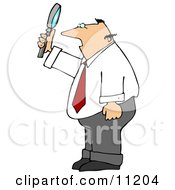 Balding Caucasian Businessman Holding Up And Looking Through A Magnifying Glass Clipart Picture