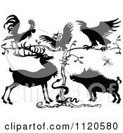 Clipart Of A Retro Vintage Black And White Rooster Owl Crow Deer Snake And Pig By A Tree Royalty Free Vector Illustration