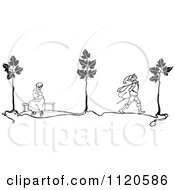 Clipart Of A Retro Vintage Black And White Man Leaving A Woman Royalty Free Vector Illustration