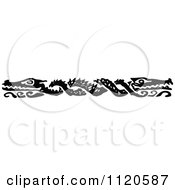 Clipart Of A Retro Vintage Black And White Crocodile Border Royalty Free Vector Illustration
