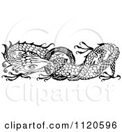 Clipart Of A Retro Vintage Black And White Dragon Royalty Free Vector Illustration by Prawny Vintage