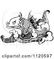 Clipart Of A Retro Vintage Black And White Fish And Waves Royalty Free Vector Illustration by Prawny Vintage