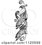 Clipart Of A Retro Vintage Black And White Fish And Swirl Design Royalty Free Vector Illustration by Prawny Vintage