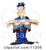 Hungry Male Cop In Uniform Trying To Chew A Giant Bite While Holding A Large Submarine Sandwich